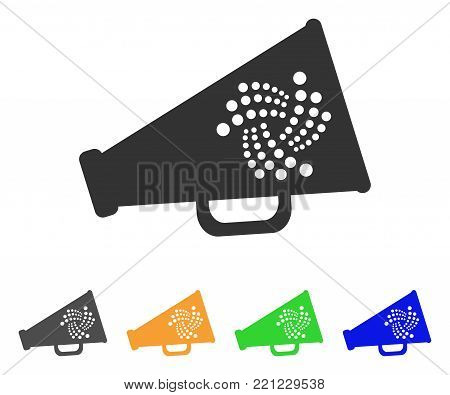 Iota Megaphone icon. Vector illustration style is a flat iconic iota megaphone symbol with gray, yellow, green, blue color versions. Designed for web and software interfaces.