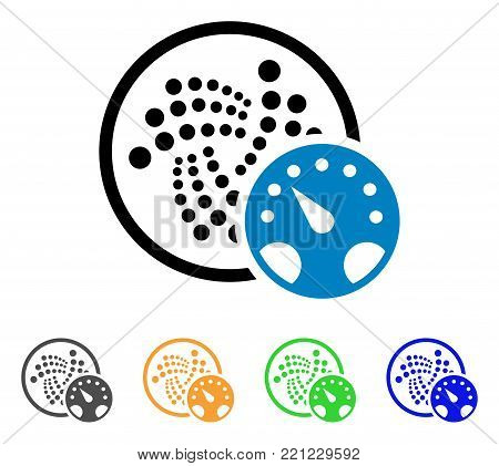 Iota Meter icon. Vector illustration style is a flat iconic iota meter symbol with grey, yellow, green, blue color versions. Designed for web and software interfaces.