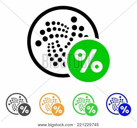 Iota Percent icon. Vector illustration style is a flat iconic iota percent symbol with gray, yellow, green, blue color variants. Designed for web and software interfaces.