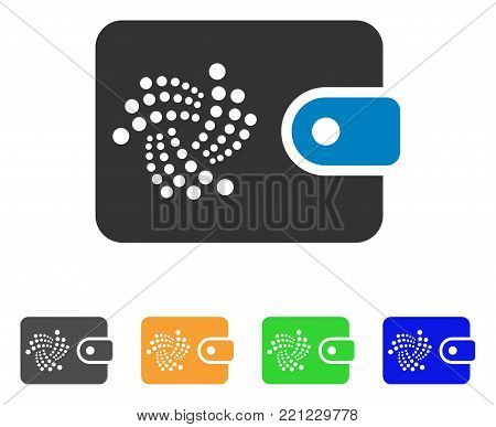 Iota Purse icon. Vector illustration style is a flat iconic iota purse symbol with gray, yellow, green, blue color versions. Designed for web and software interfaces.