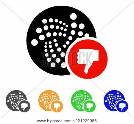 Iota Thumb Down icon. Vector illustration style is a flat iconic iota thumb down symbol with grey, yellow, green, blue color versions. Designed for web and software interfaces.