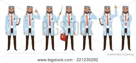 Muslim Arabic doctor men character. Set of poses