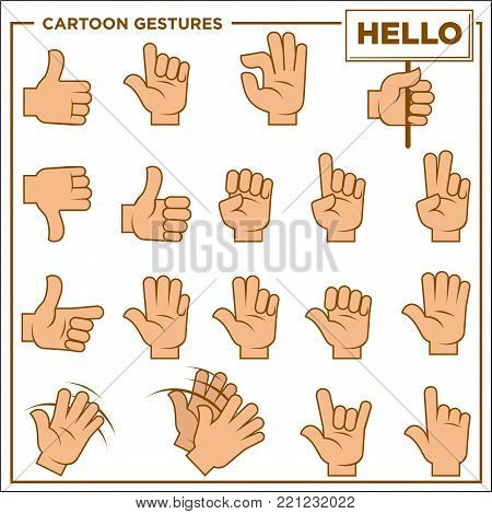 Cartoon gestures shown by human hands isolated vector illustrations set on white background. Palm with help of fingers shows symbols to express emotions, say hello or tell short information.