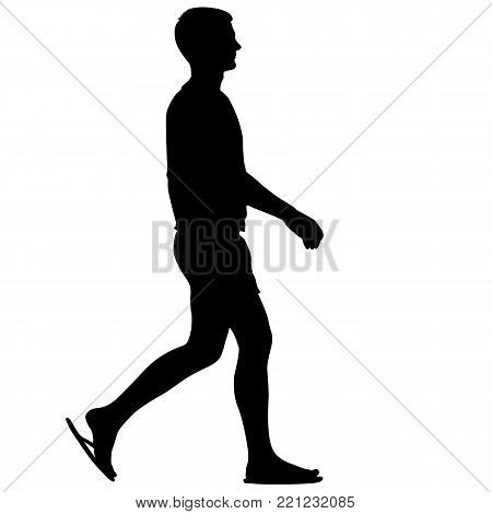 Silhouette of Person walking in sandals on White Background.