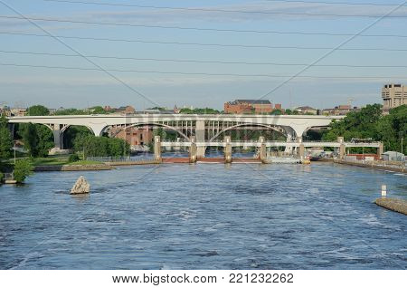 View on Mississippi river Minneapolis and Brigde, USA, Summer, May 2017, Bridge, horizontal
