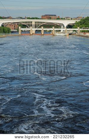 View on Mississippi river Minneapolis, USA, Summer, May 2017, Bridge, vertical
