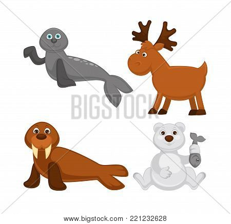 Adorable animals from cold countries and North Pole. Grey fur seal, moose with branchy horns, walrus with sharp tusks and white bear that holds fish isolated cartoon flat vector illustrations set.