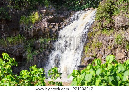 Scenic view of the Waimea Falls, North Shore, Hawaii cascading over a rocky ledge amongst lush green tropical vegetation