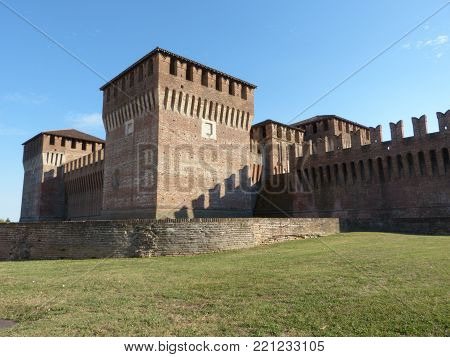 Castles of Italy - View of the medieval castle of Soncino in the province of Cremona - Italy