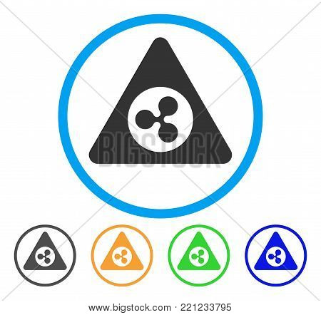 Ripple Danger rounded icon. Style is a flat gray symbol inside light blue circle with additional color versions. Ripple Danger vector designed for web and software interfaces.