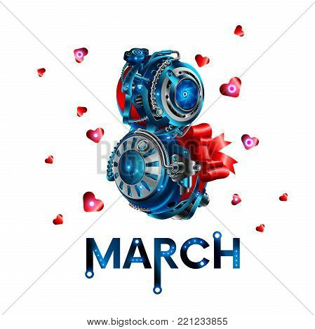 The inscription of March 8 in the style of robotics. Template cards for congratulations women in the workplace. Figure eight in the style of modern innovative technologies, robotics and electronics.