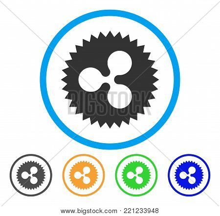 Ripple Insignia Stamp rounded icon. Style is a flat gray symbol inside light blue circle with bonus color variants. Ripple Insignia Stamp vector designed for web and software interfaces.