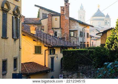 Various buildings in the old town of Bergamo in Italy