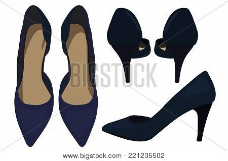 Vector Dark Blue Shoes, Fashionable Look. Illustration of Women's High Heel Shoes. Vector Drawing of Fashionable Look of Women's High Heel Dark Blue Shoes