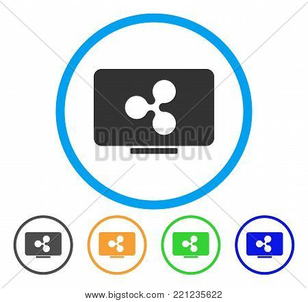 Ripple Display rounded icon. Style is a flat grey symbol inside light blue circle with additional colored versions. Ripple Display vector designed for web and software interfaces.