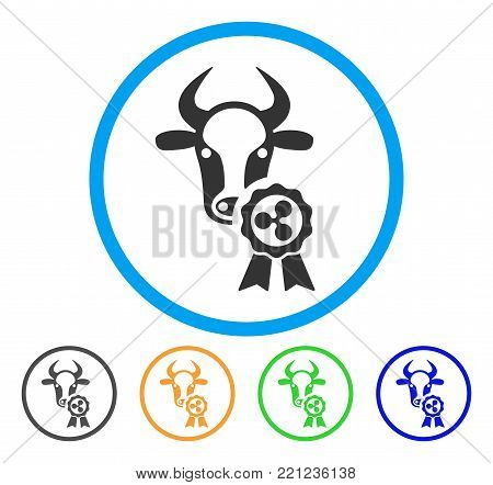 Cow Ripple Reward rounded icon. Style is a flat grey symbol inside light blue circle with bonus color versions. Cow Ripple Reward vector designed for web and software interfaces.