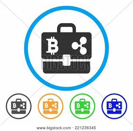 Cryptocurrency Portfolio rounded icon. Style is a flat grey symbol inside light blue circle with bonus colored variants. Cryptocurrency Portfolio vector designed for web and software interfaces.