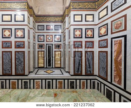 Cairo, Egypt - December 16, 2017: Decorated marble wall and marble tiled floor at al Refai Mosque, Cairo, Egypt