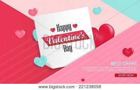 Valentines day background with balloons heart sale banner.Valentines day invitation brochure flyer, leaflet, pink and heart theme
