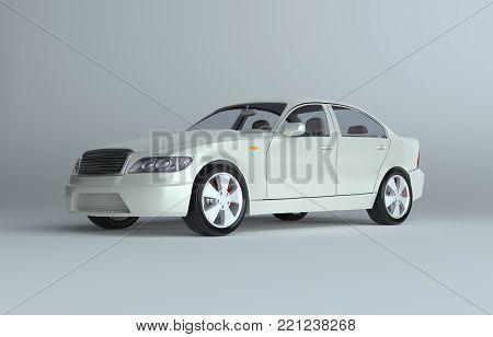 3d rendering of a brandless generic car in a studio environemnt