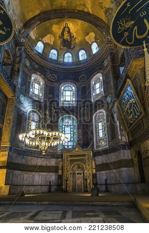 ISTANBUL, TURKEY - SEPTEMBER 11, 2017: This is the apse of Hagia Sophia with the mihrab.