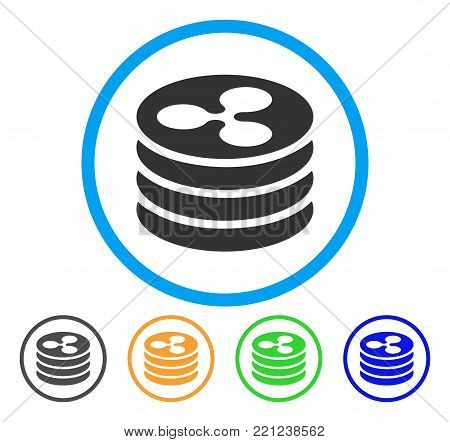 Ripple Coin Column rounded icon. Style is a flat gray symbol inside light blue circle with additional colored variants. Ripple Coin Column vector designed for web and software interfaces.
