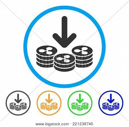 Ripple Coins Income rounded icon. Style is a flat grey symbol inside light blue circle with additional colored versions. Ripple Coins Income vector designed for web and software interfaces.