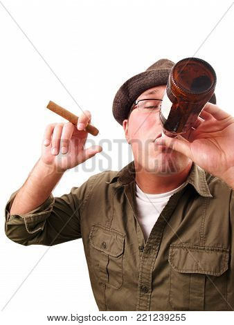 a man drinking and smoking isolated on white.