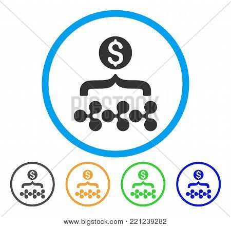 Ripple Dollar Funnel rounded icon. Style is a flat grey symbol inside light blue circle with additional colored versions. Ripple Dollar Funnel vector designed for web and software interfaces.