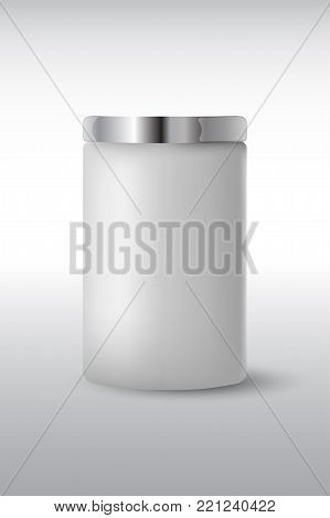 Round white  matte plastic jar with  metal lid for cosmetics - body cream, butter, scrub, bath salt, gel, skin care, powder. Realistic packaging mockup template. Side view. Vector illustration