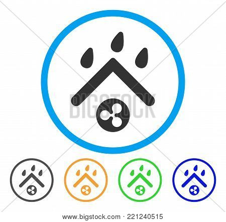 Ripple Rain Roof rounded icon. Style is a flat gray symbol inside light blue circle with bonus colored variants. Ripple Rain Roof vector designed for web and software interfaces.