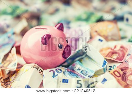 Euro Money Euro Banknotes Euro Currency And Piggy Bank