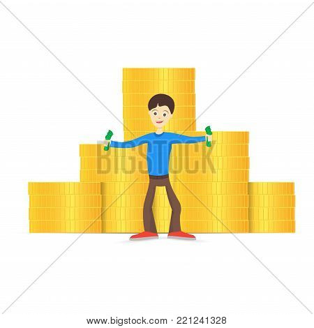 A young man is happy about money. Holds money in his hands. Back of a pile of gold coins. Vector illustration.