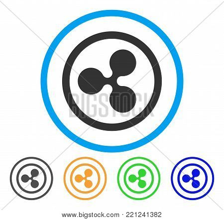 Rounded Ripple rounded icon. Style is a flat gray symbol inside light blue circle with bonus colored versions. Rounded Ripple vector designed for web and software interfaces.