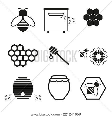 Honey online icons on the white background