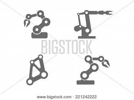 Industrial robotic arm vector art that can be used as icons, or similar. Robot arms like these are used in industries like manufacturing, production, automation, engineering, science, and material handling in factories. Rendered in a simple, flat style.