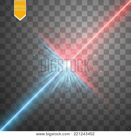 Star clash and explosion light effect, neon shining laser collision surrounded by stardust on transparent background. Expressive illustration, technical innovation, shocking news or invention symbol. Vector.
