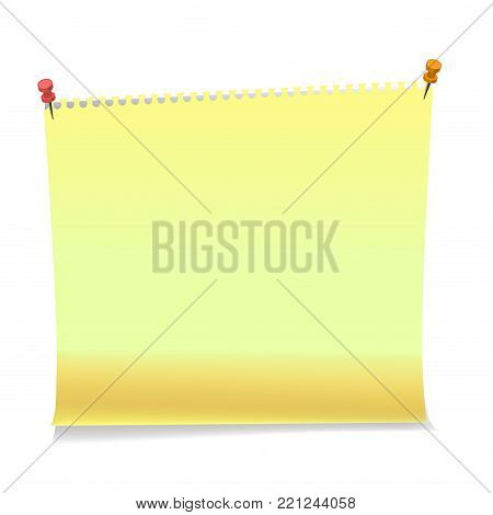 Realistic yellow memo stickers with shadow and curled corner mockup. Vector sticky notes paper sheets templates, reminders. Vector illustration stock vector.