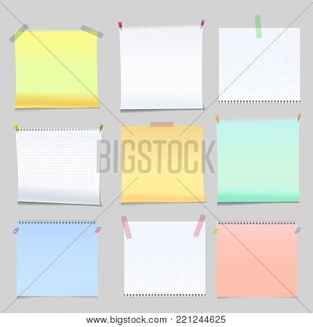 Realistic yellow, green and white memo stickers with shadow and curled corner mockup. Notes paper sheets templates, reminders with with sticky tape or push pins and clips Vector illustration stock vector.