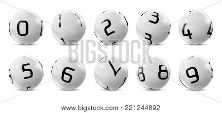 Vector lotto white balls with numbers. Lottery bingo gambling glossy spheres. Snooker, billiard sport game realistic isolated illustration with reflections on white background.