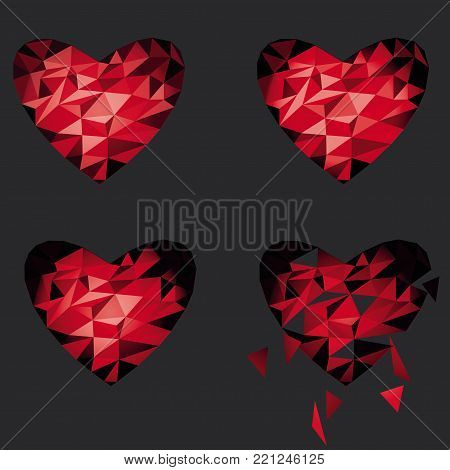 Polygon Red Broken Heart Icon For Valentine's Day. gray background.