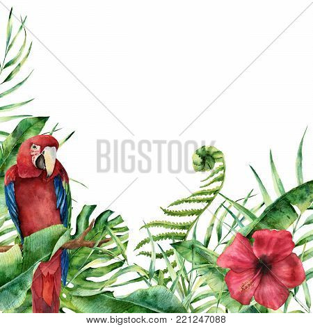 Watercolor exotic floral card with parrot. Hand painted tropical frame with palm tree leaves, fern branch, banana and magnolia leaves, hibiscus flower and macaw isolated on white background
