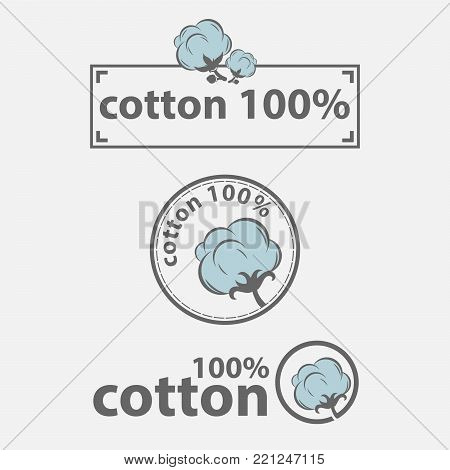 Cotton labels or logo for pure 100 percent natural cotton textile tags. Vector isolated icons set for clothing label or eco fabric design template of leaf, flower and thread in needle,EPS 8,EPS 10