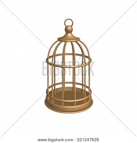 Vector golden cage. Birdcage isolated on white background