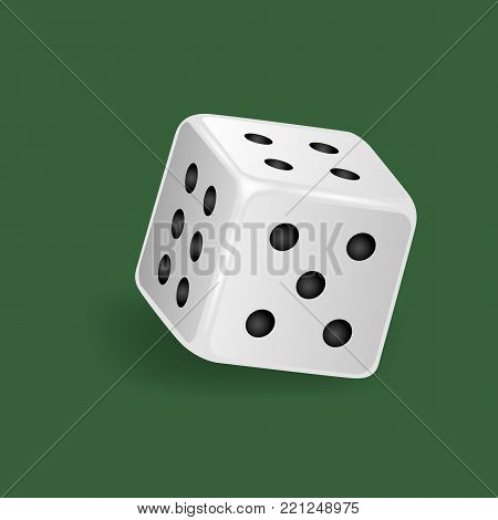 Realistic white dice. Gambling game, casino, dice. Hobbies, professional occupations. Dice casino gambling, with random various numbers: four, five, six. Vector illustration isolated.