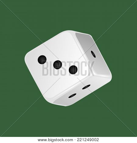 Realistic white dice. Gambling game, casino, dice. Hobbies, professional occupations. Dice casino gambling, with random various numbers: one, two, three. Vector illustration isolated.