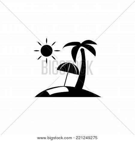 Beach flat umbrella icon on white background