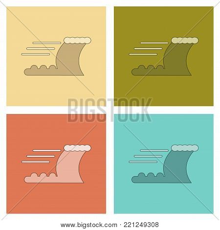 assembly of flat icons nature ocean tsunami
