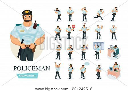Set of policeman cartoon character working in law enforcement. Young clerk man officer policeman in working clothes, in form. Different poses and emotions, gestures. Illustration front and rear view.