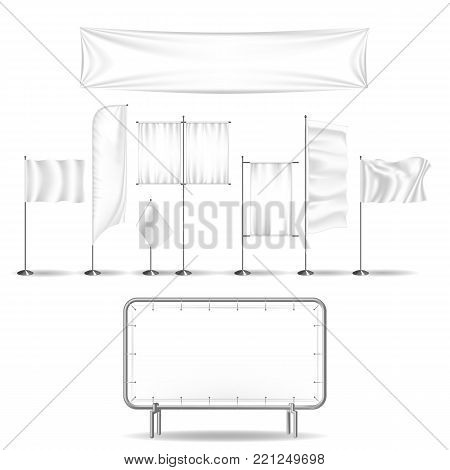 Set of advertisement billboards and outdoor advertising. Billboards, blank poster, sign retail, flags, trading board, exhibition stand. Shapes templates. Vector illustration realistic isolated.